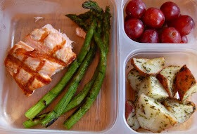 salmon, asparagus, roasted herb red potatoes, grapes