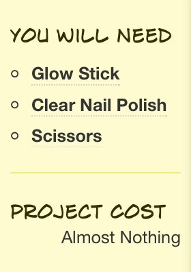 You can also use any nail polish color of your choice, but make sure the glow stick is the same color!
