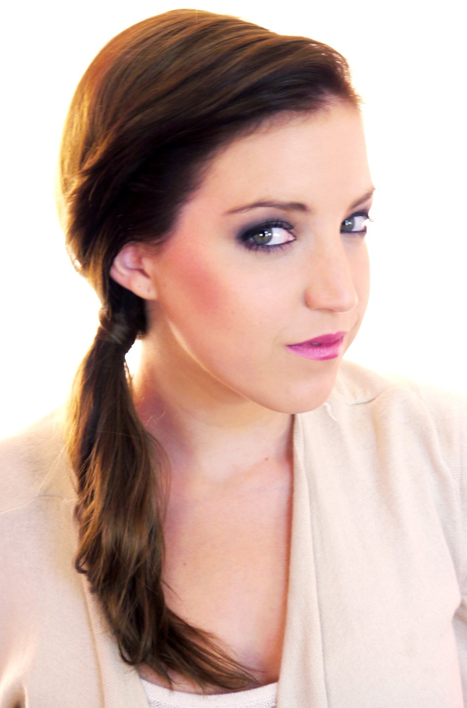 First is a simple side pony tail if you have frizzy hair like me then twist your hair at the bottom and spritz some hairspray, same goes for those pesky fly-a-ways!