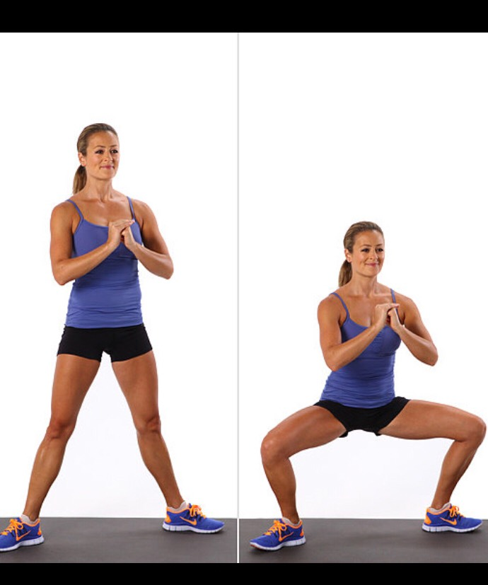 1.Stand with your feet wider than hip-width apart. 2.Angle toes out and away from the center of your body. 3.Bendknees and the hips to lower into your squat, squeezing your glutes at the bottom of the move. 4.Make sureyour back isneutral 5.Once lowered, press up to standing, driving