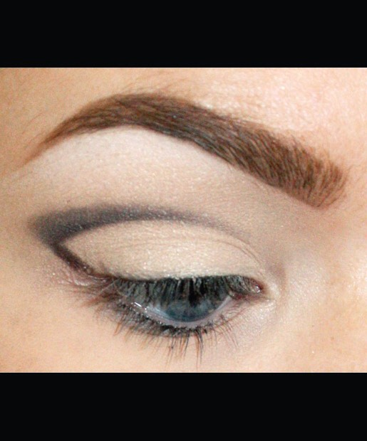 Next, use an eye shader brush like MAC 239 to blend your eyeliner out toward the outer corner of your eye. If you can, try to keep the bottom of your cut crease a sharp line.