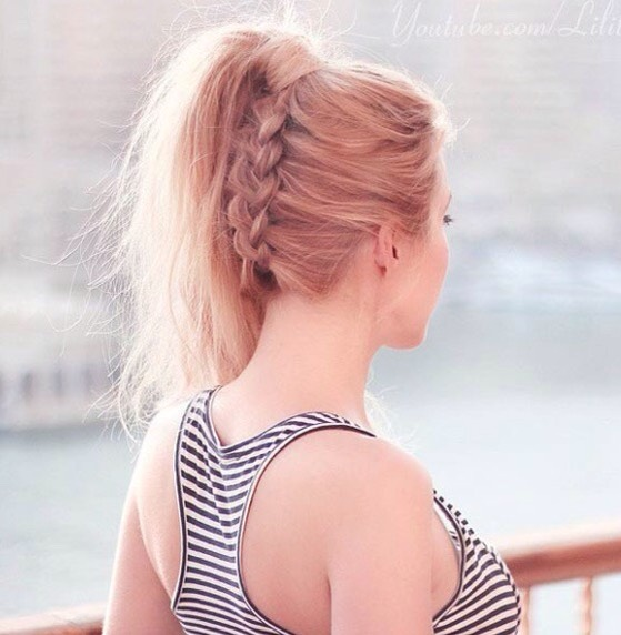the under dog high ponytail for the easiest method, lay off a bed and French or Dutch braid a section, then pull into a ponytail. for more sight of the braid, you also put your hair in a bun.