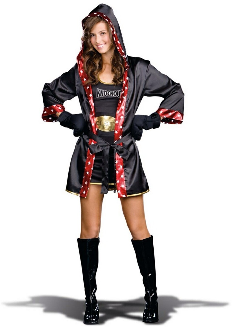 Knock them out with this cute costume. Show how tough us girls really are by being the boxer you have always wanted to be