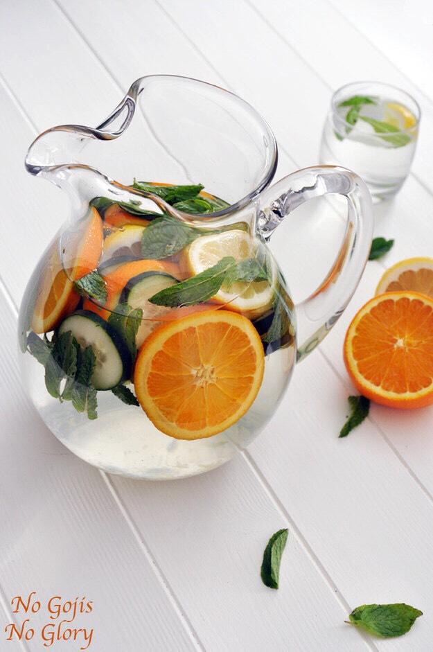 Orange, and cucumber