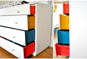 7 Paint your dresser drawer sides with your bold hues, and then your dresser a solid color.