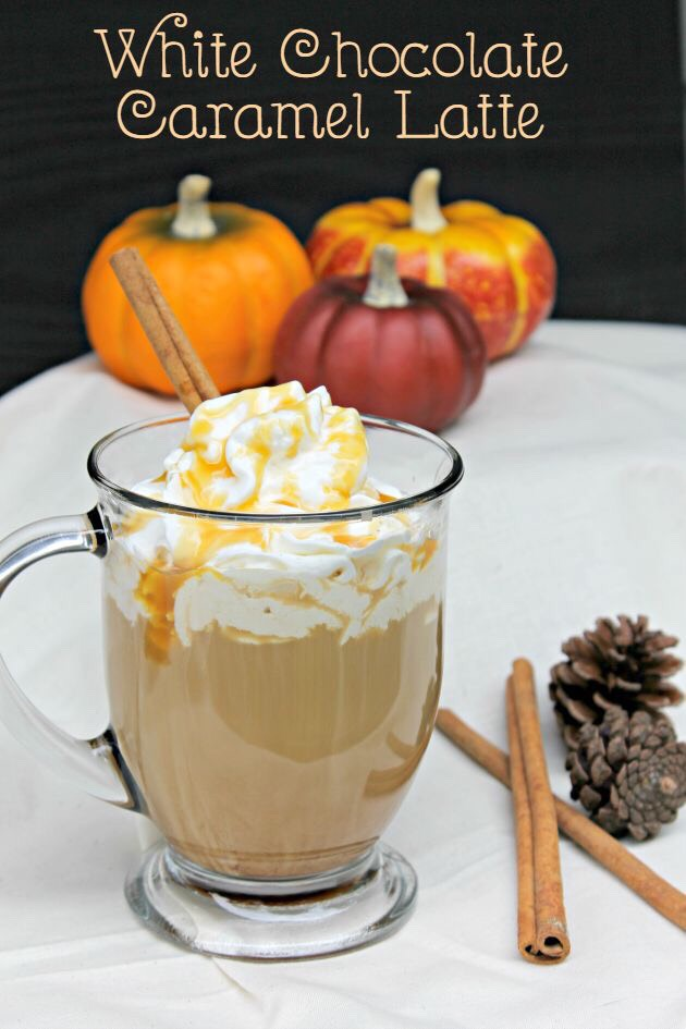 1 single serve K'cup coffee 1/4 cup white chocolate chips 1/2 cup milk (I use skim) 1/4 cup half-and-half 1/4 teaspoon vanilla extract 1/16 teaspoon almond extract Top with whipped cream and garnish with cinnamon sticks Directions athttp://www.kickingitwithkelly.com/food/white-chocolate-caramel-latte/
