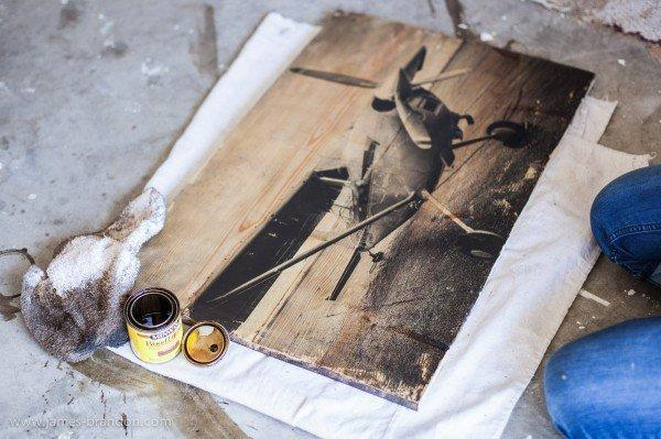 To transfer a photo onto wood,  all you need is:  - Block of wood - Photo of your choice - Gel medium - Mod podge