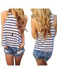 Usstore Vest Tank Tops Vest Stripe Vest T Shirt Casual T-Shirt For Women