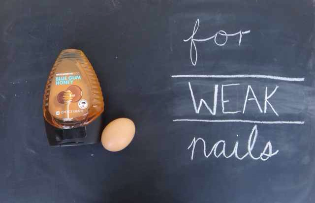 WEAK NAILS: (+) 1 egg yolk (protein) (+) 1 tsp honey (anti-inflammatory,anti-fungal) (+) tbsp water (OPTIONAL) few drops essential oil (for fragrance)  Mix all ingredients, put it on for about 10 minutes + wash off with warm water. This mixture can go on your fingers + will protect your cuticles against bacteria.