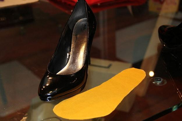9. Stop the slip with DIY Innersoles: Be sure to pick a thicker, non-silky fabric for extra grip