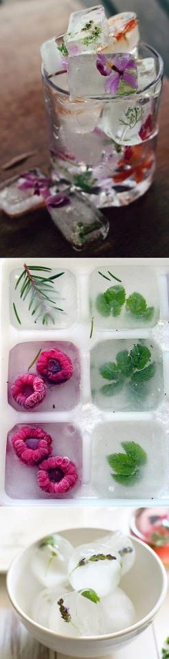 raspberry + herbs ice cubes and lavender + mint ice cubes - just make a bunch of different combinations and let them chill in the freezer