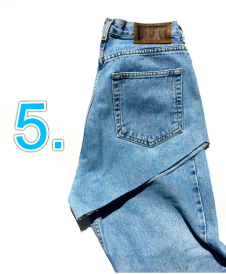 next fold over your cut side of the pants and align it as best as possible to the other side!