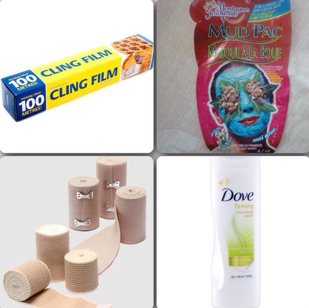 What you will need:  -Cling film -Dead Sea salt face masks (I use these ones but I suppose others might work aswell) -bandages (or something tight but breathable for around your waist or whatever area you use) -firming cream/lotion (I use the dove one but again any should work)