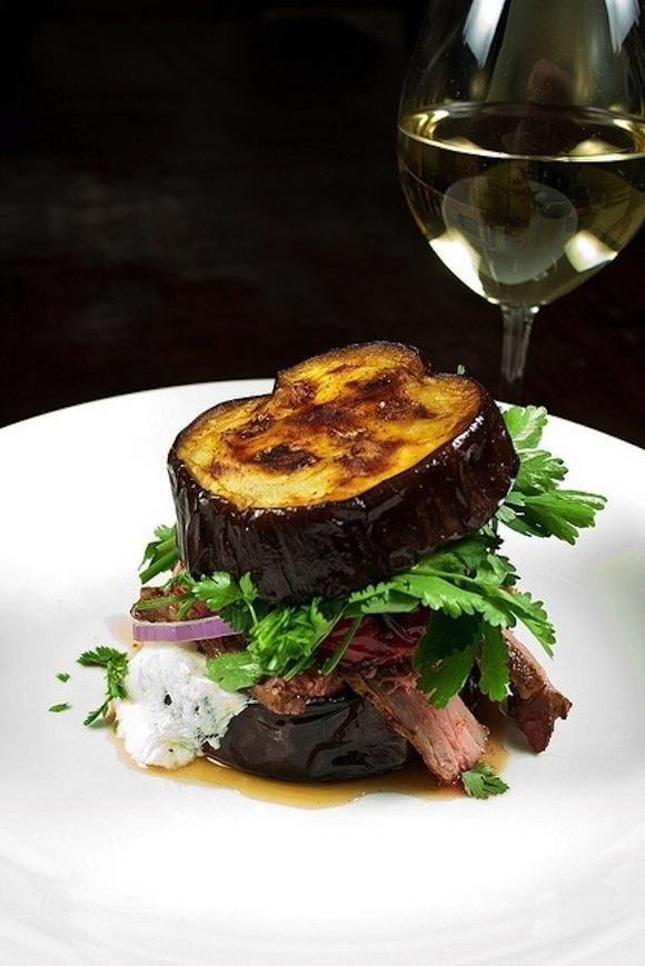Steak Sandwich with Chipotle, on Aubergine