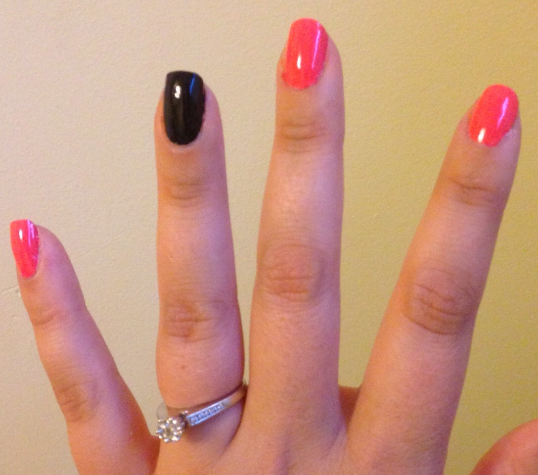 Simple pink nails with black accent nail