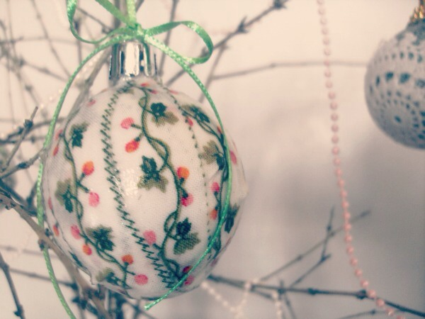 Replace the cap.  (If you find it tricky getting the cap back on, a little dab of hot glue or super glue will help)  Last of all, use some thin satin ribbon or beaded string to hang your bauble with.