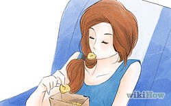 Eat like you're already there. Avoid eating airplane food, since it's generally served on a schedule that's consistent with the time zone you're leaving, not the one you're going to.  If you're hungry, snack lightly until you arrive at your destination, and eat during what would be mealtimes there!