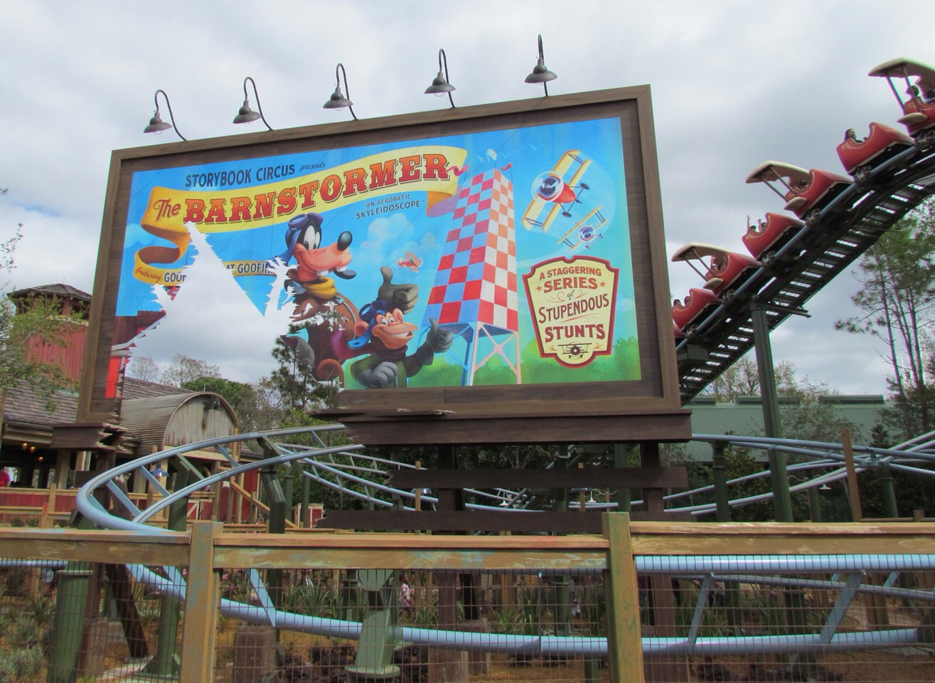 Barnstormer Take flight above Storybook Circus for a thrilling, junior roller coaster ride. Great ride for kids!  Height: 35in or taller FP+: Yes