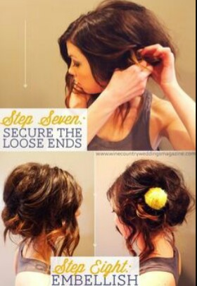 Secure the lose ends with bobby pins and if you want can put a head piece