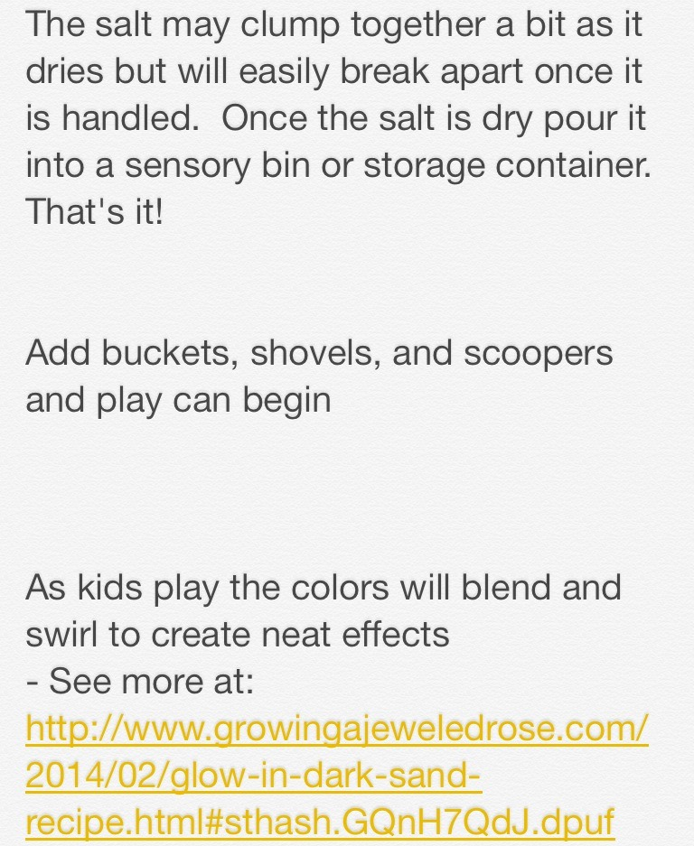 Here's the site: http://www.growingajeweledrose.com/2014/02/glow-in-dark-sand-recipe.html#sthash.GQnH7QdJ.dpuf