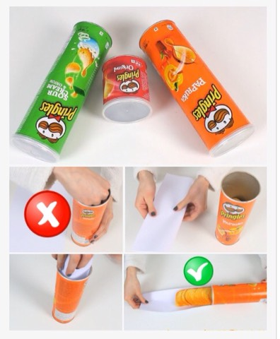 How annoying is it to break your precious Pringles making it impossible to be able to lick the salty flavourgoodness off them...very. So hold your horses and after you pop the top don't cram your hand in, release them on to a parchment type paper or wax etc. Voila! Wholechips!