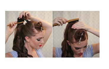 Repeat again with the top section, making sure to smooth out the sides and top before securing the hair-tie. Tease the underside of the top ponytail a bit and than smooth over the top of it.
