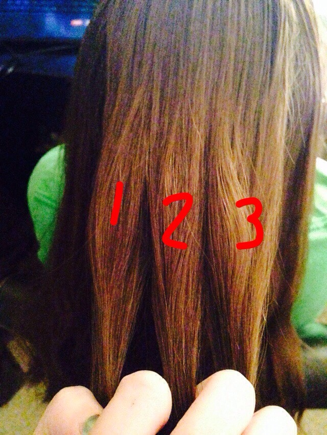 """Next.. Divide your/her hair into three different sections. Labeled left to right """"1,2,3.""""  Next Page---👉"""