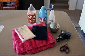 Here's what you need… 1 Liter Pop Bottle, Starch, Cheese Cloth, Old Towel, Scrap piece of felt, Styrofoam ball (the white kind works better.) Scissor, Hair dyer (optional) Wire (not pictured)