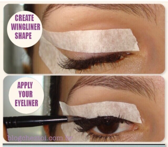 Tip 3 ~  To get a neat line for eyeliner , apply any kind of tape around the outline of where you want your cat eye to go and then follow the tape to get the perfect winged eye liner .