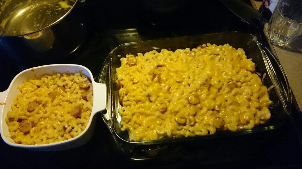 What you'll need: Butter Flour Milk Hot Dogs (optional) Cheese!!!!! (any kind you prefer) Macaroni noodles Salt Pepper