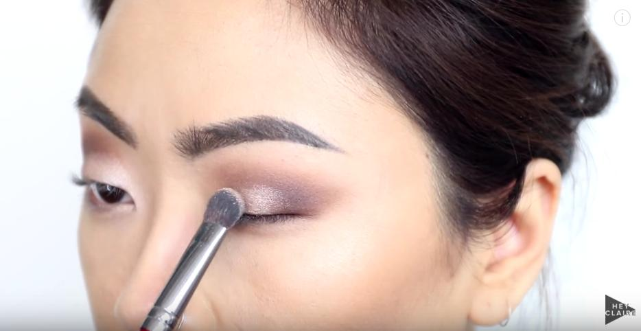 Take a shimmer eyeshadow on your brush, wet it, and then apply to the center and inner corner of your lid.