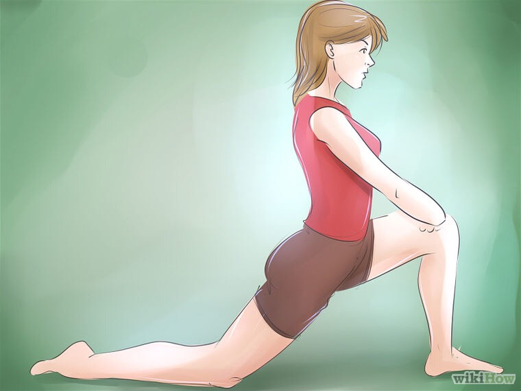 Do a lunge stretch. When doing this, make sure that your knee is at a 90 degree angle to your foot. If needed slide your bottom leg further away so your hips move closer to the floor. This is helping to stretch the dorsal hip muscle.