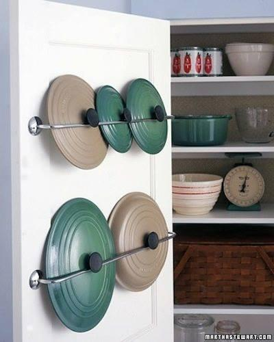 A towel rack to hold your pan lids.