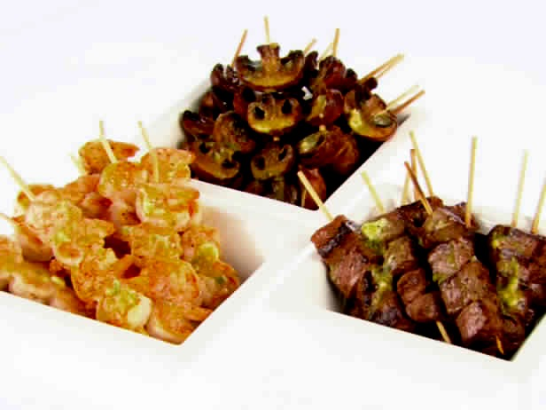 When using foods with different cooking times (such as shrimp   and beef), don't combine them on the same skewer. Instead,   make skewers of just shrimp or just beef, start cooking the   beef first, and then combine them on a serving platter.