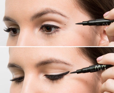 1⃣4⃣Make your cat-eye symmetrical every time by marking the ends with a dot before lining. Once you've figured out where you want the dots, draw a small line from the dot inward to connect them to the liner at your lash line. No more guessing what the angle should be or where the line should end!