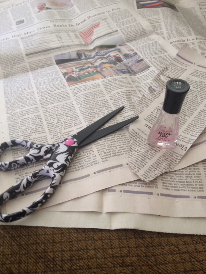 Start out with newspaper scissors and clear top coat, I prefer the quick dry
