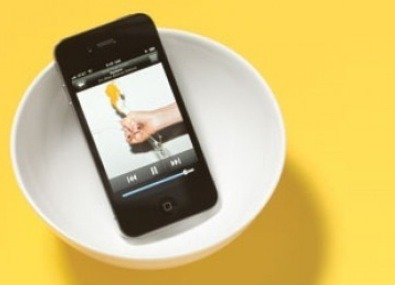 Place your iphone or iPod into a bowl and it will amplify the sound!