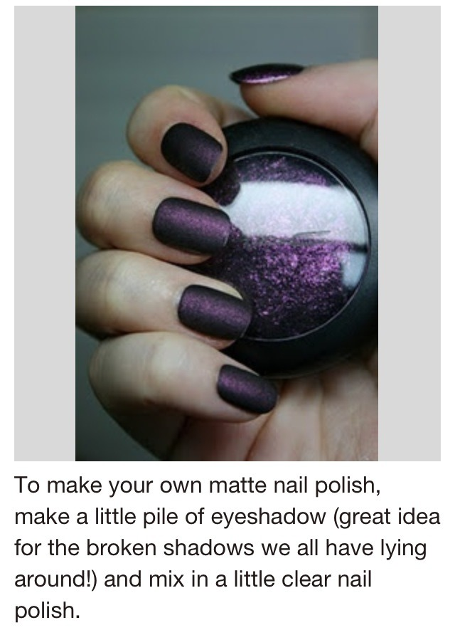 Mix clear nail polish with some eyeshadow and mix!!