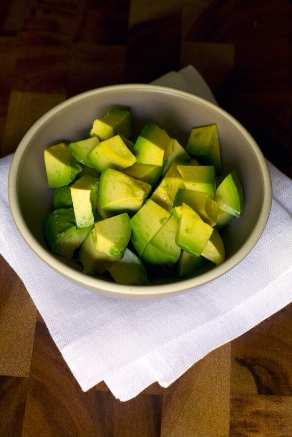 Cut your avocado into pieces aswell!