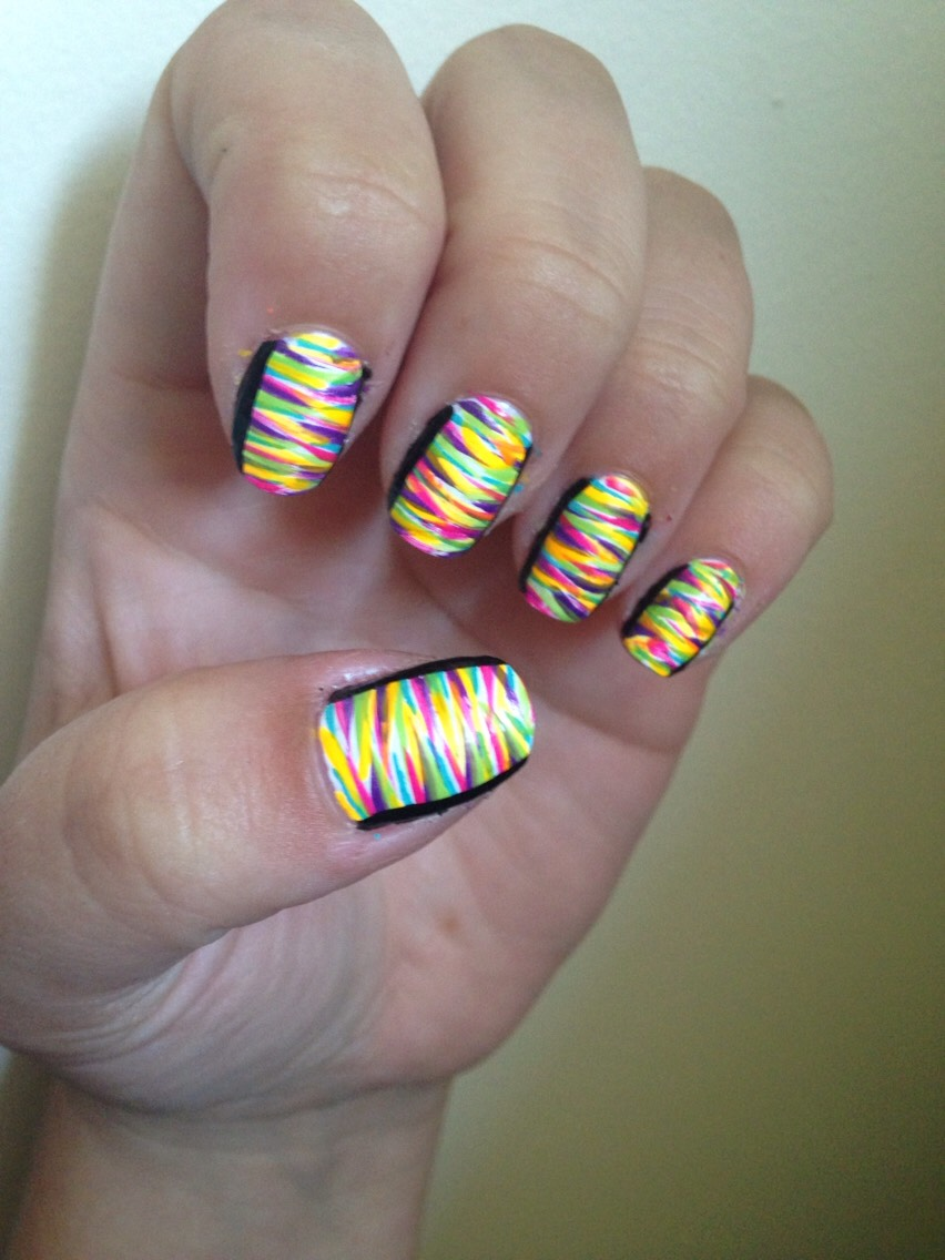 Neon stripes on white nail with black sides