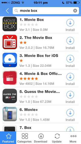 Then search up Movie box and press install and it will start downloading