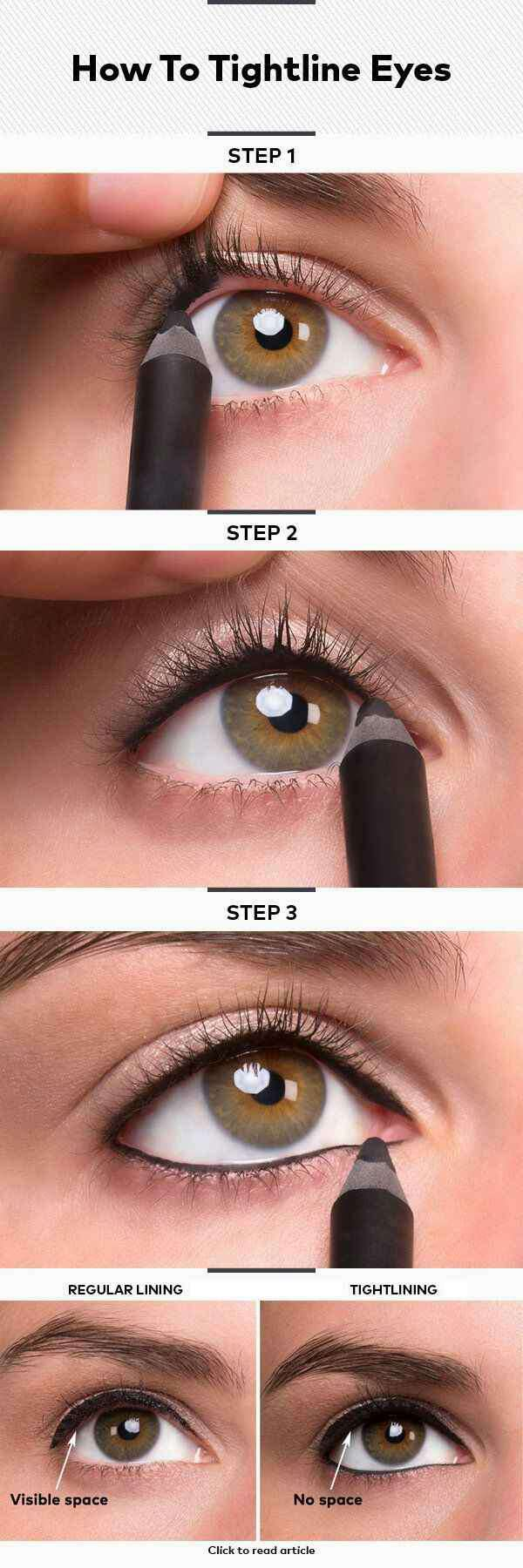23. Or, you could tightline your eyes instead. The biggest difference between regular lining and tightlining is the visible space of eyelid between your lashes and your eye.