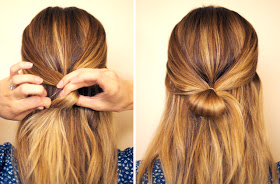 2. Tie the two sections together with an elastic to create a half ponytail. DON'T pull the ends through the elastic the last time you wrap it to create a loop like the picture in the right🔜🔜🔝