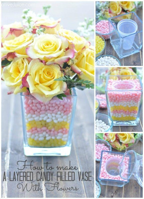 for a cute Easter décor just buy a vase and put a plastic container inside with water for a beautiful bouquet of flowers then surround it with candy