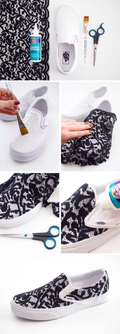 15. Apply black lace to a pair of slip-ons for a cute upgrade. Flexible fabric glue is what makes the lace stick without making the shoe stiff and uncomfortable to wear. This is also a great hack for a pair of super comfy but stained shoes that you just can't bring yourself to throw away.