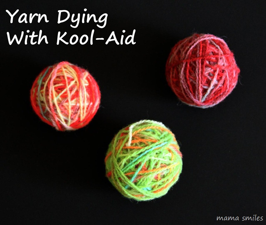 Just dip yarn into a cup of hot water with kool aid. The amount of water doesn't matter as long as the yarn is covered. You can either near boil the water (while stirring) or heat in a microwave for 2 mins increments, taking it out to stir. You'll know it's done when the water is clear.