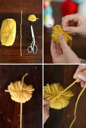 To add the bookmark 'tail', use the 15-inch piece of yarn, tie it around the same string you used to tie the 90 loops together, as seen in the pictures above.