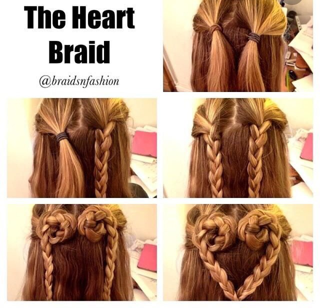 Part hair in two into a ponytail  Braid each ponytail Make a half bun  Pin with bobby pin to secure Now attach both braids together
