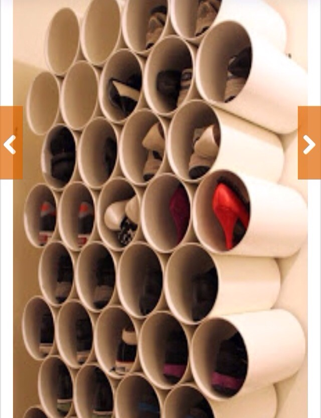 A perfect use of left over pipes or u can also the big coffee tins cans to build this amazing show rack!