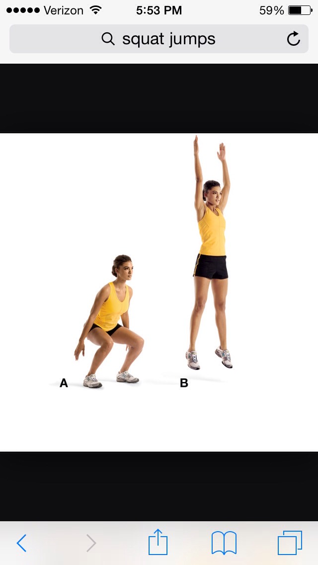 Next you do 15 or more squat jumps. You can hold a weighted/medicine ball to make it more difficult.